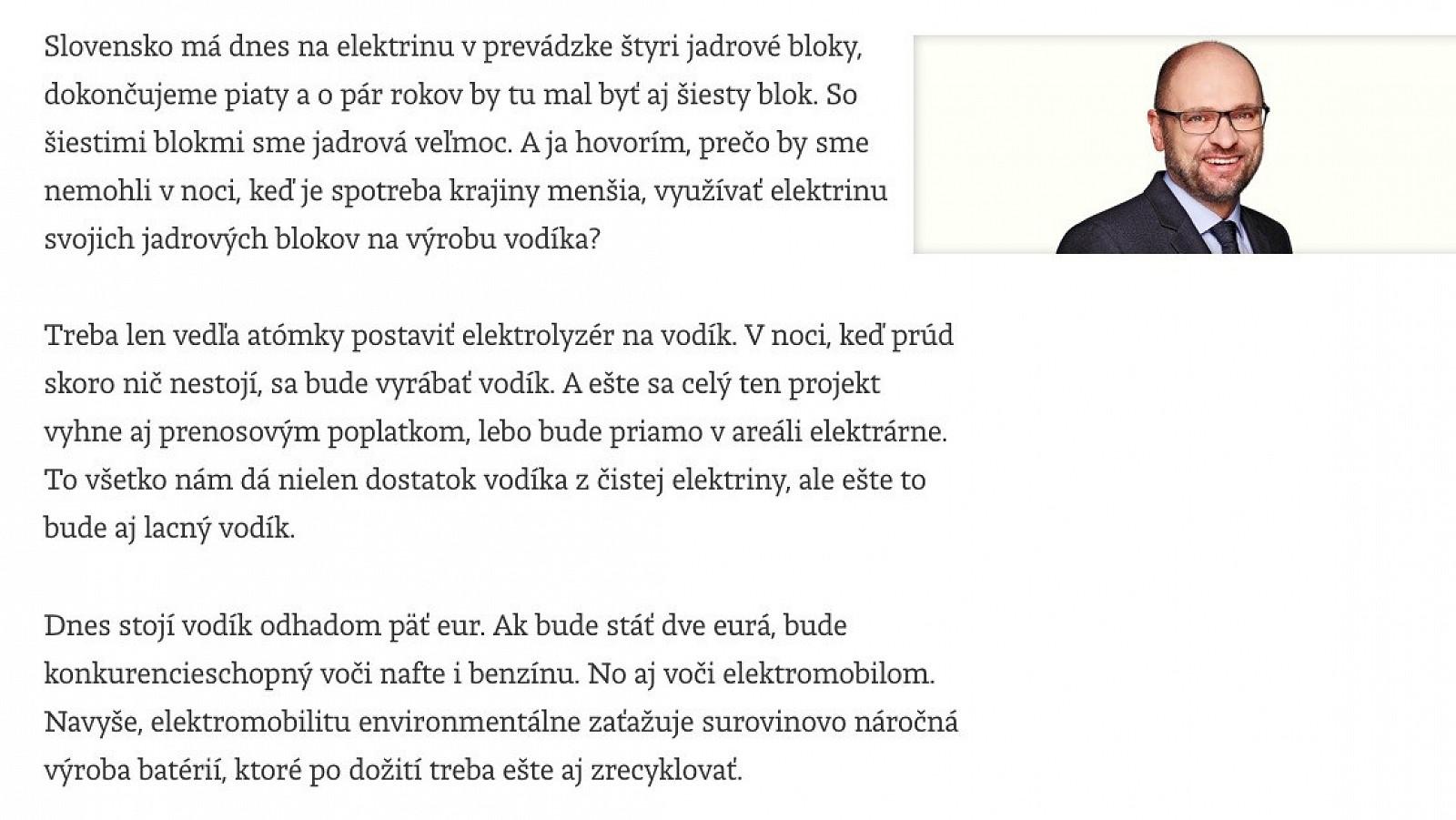 Minister Sulík o vodíku ako zdroji pre elektromobilitu a Slovensku ako jadrovej veľmoci